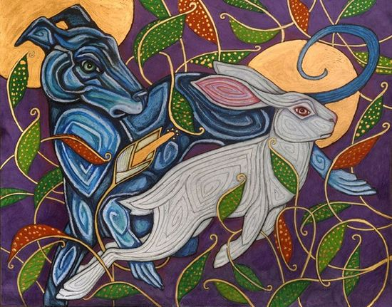 Celtic Dog / Greyhound / Whippet Hunting Rabbit by LynnetteShelley, $30.00