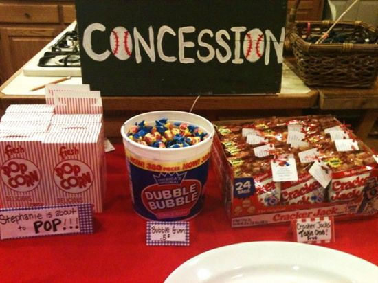 Baseball themed shower- Concession food… this would be super cute for a certai