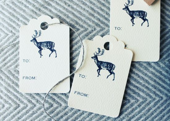 Vintage Styled Gift Tags * Reindeer Holiday