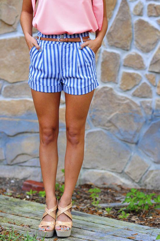 striped shorts, belt & solid shirt