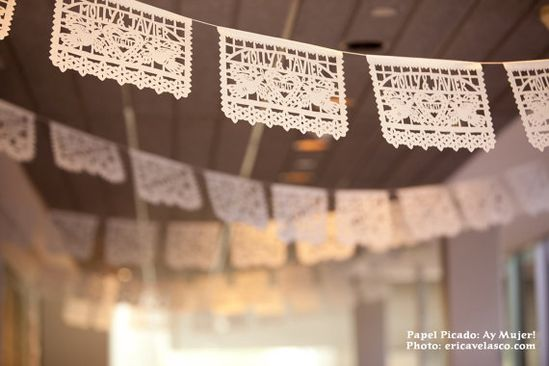 Mexican wedding banners . DOS PALOMAS (3-Pack) Custom Names, Color Papel Picado. $99.00, via Etsy.