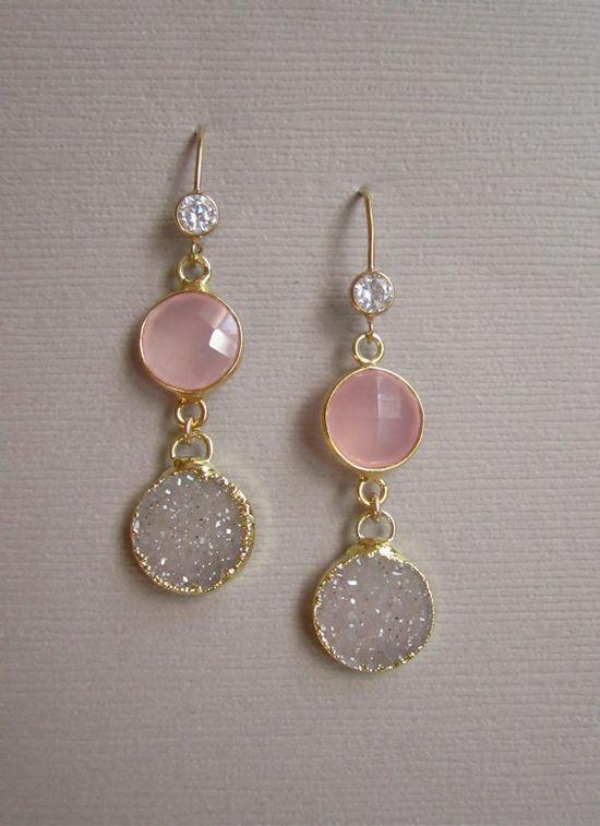 Linear Druzy Earrings Rose Drusy Quartz Gold by julianneblumlo, $125.00