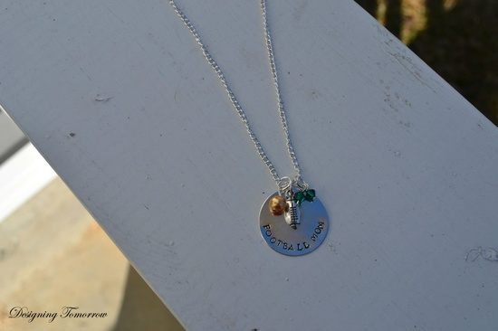 Football Mom Metal Stamped Necklace with Personalized Bead Colors and Football Charm. $15.00, via Etsy.
