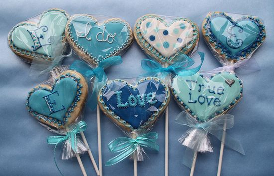 Blue love hearts cookies