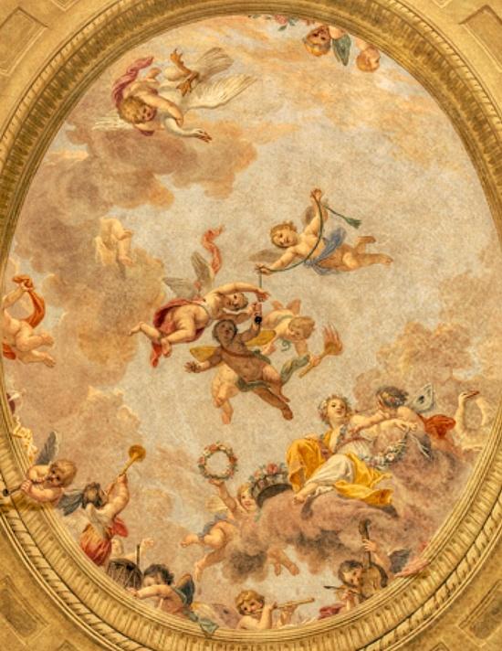 Fresco on ceiling of abandoned estate in France...