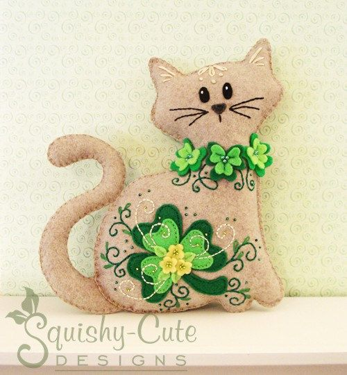 Cat Stuffed Animal Pattern - Felt Plushie Sewing Pattern & Tutorial - Shamrock the St. Patrick's Day Cat - Embroidery Pattern PDF