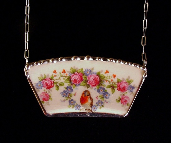 Broken china jewelry necklace antique robin, roses & forget me nots by Dishfunctional Designs