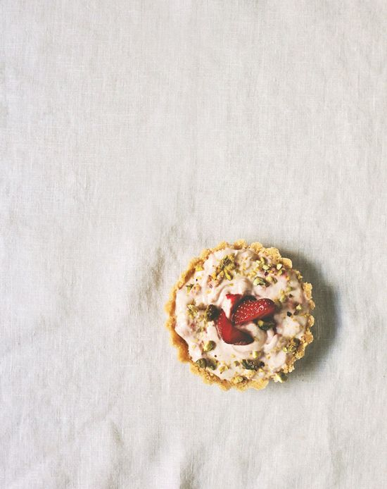 strawberry + pistachio no-bake tarts by chantelle grady