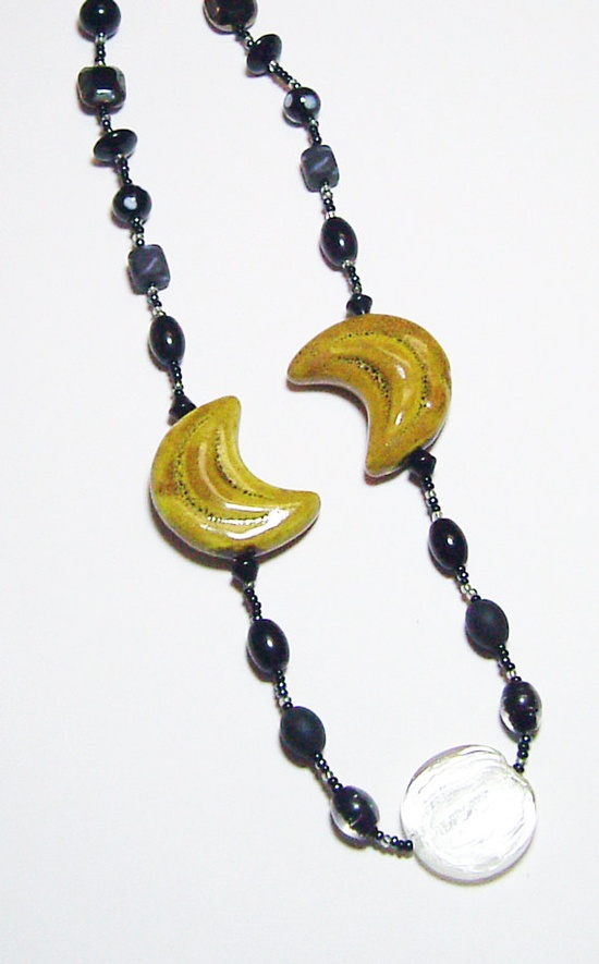 Mustard Gold Porcelain Crescents and Black Glass by tzteja on Etsy, $20.00
