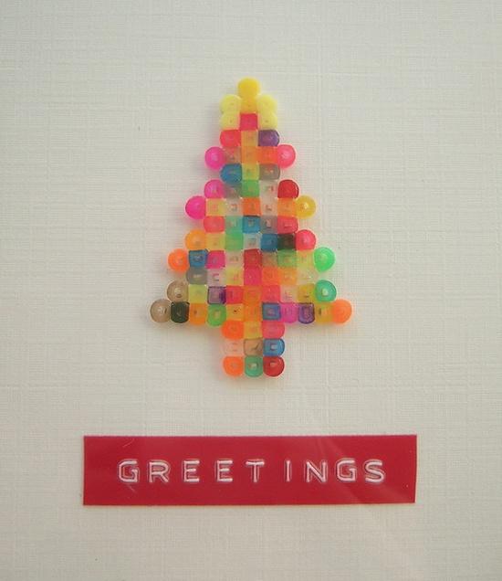 Perler Christmas tree card
