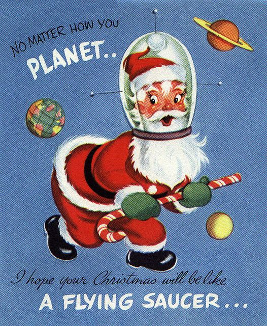 Space Santa Vintage Greeting Card