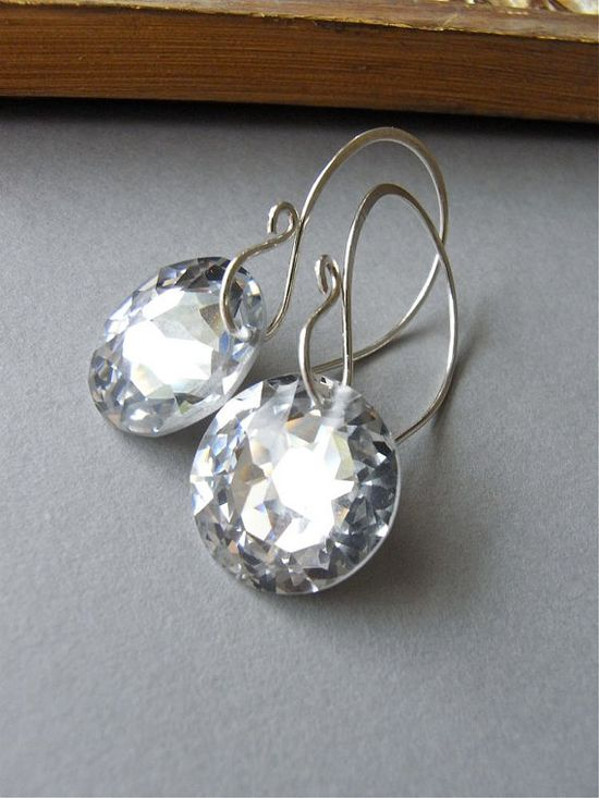 The Aurora earrings - dazzling vintage Swarovski crystals on modern sterling silver hand forged ear wires.