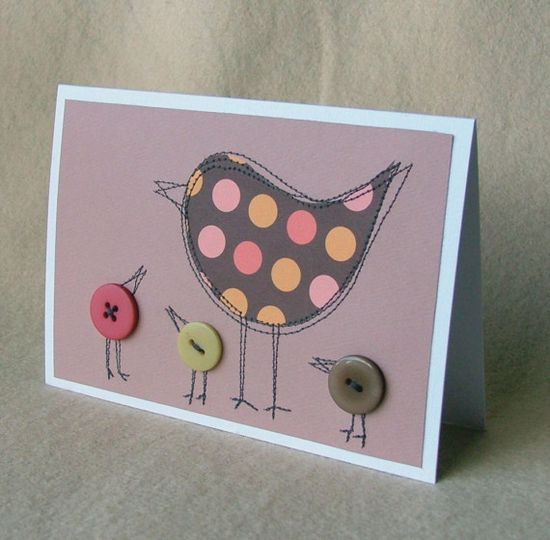 cute sewn card with button birds