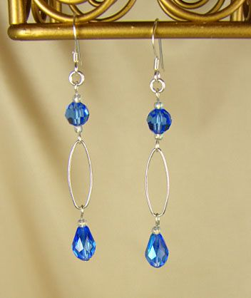 Handmade Jewelry - Silver & Sapphire Swarovski Crystal Handmade Earrings