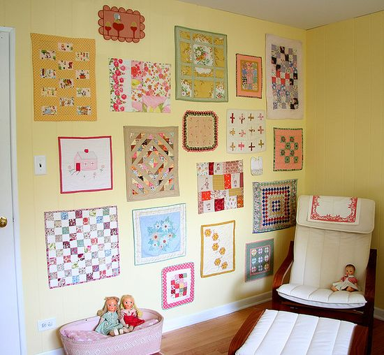 Hillary Lang's Doll Quilt Wall.  What a great idea, for studio or any room