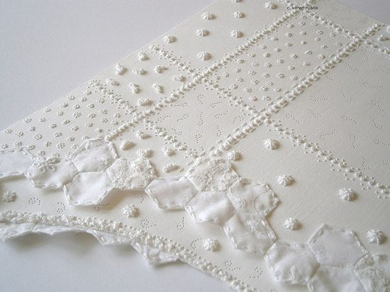 paper patchwork by @Karen Ruane www.karenruane.bl... #crafts #paper #patchwork #embroidery #white