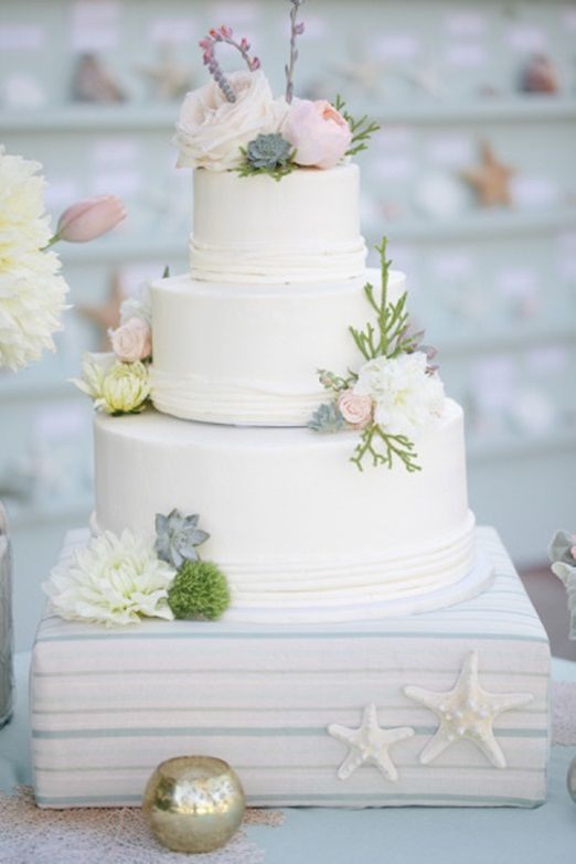 Cake love: a subtle seaside wedding cake decorated with succulents