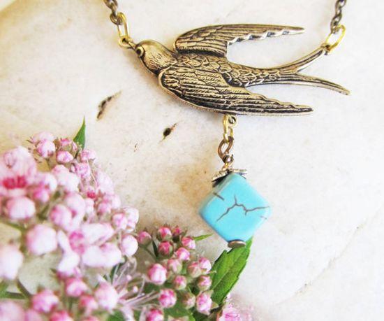 Flying Dove Necklacebrass swallow turquoise by 4TasteofShabbyChic, $32.00
