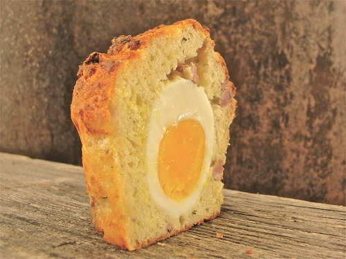 Easton's breakfast sausage and soft cooked egg savory cake.