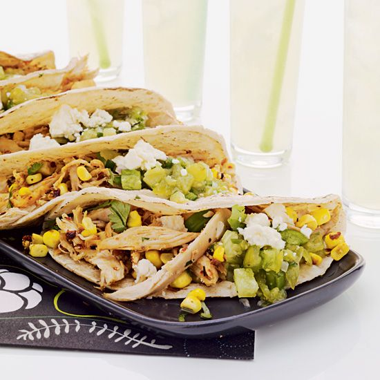 Pulled Chicken and Grilled Corn Tacos // More Great Grilling Recipes: www.foodandwine.c... #foodandwine