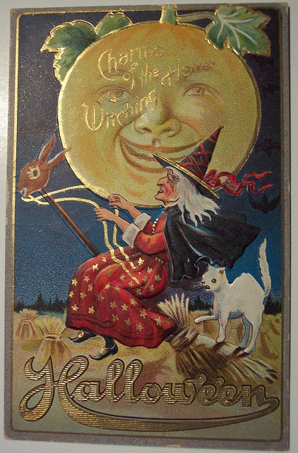 Red Witch Vintage Halloween Postcard