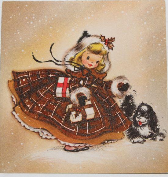 Vintage Christmas card, little girl with dog