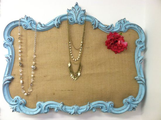 Turquoise Jewelry Display Board  Burlap by KnoxvilleArt on Etsy, $70.00