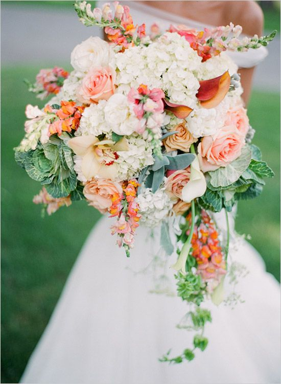 coral, peach, white and green wedding bouquet