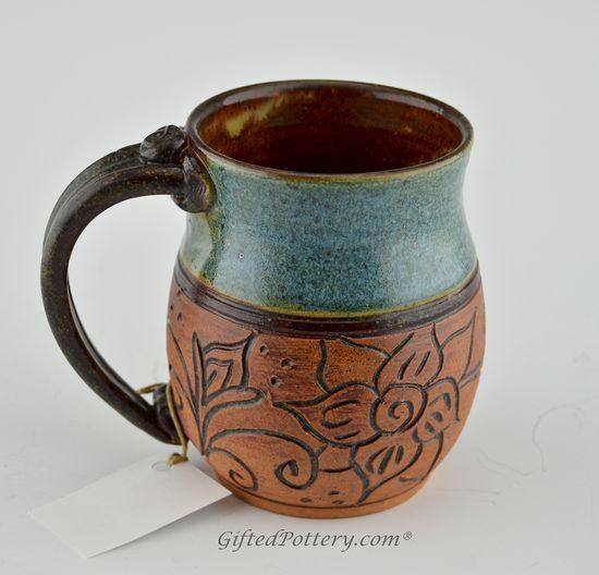 Handmade Pottery Mug - Teal w Carved Brown Flowers