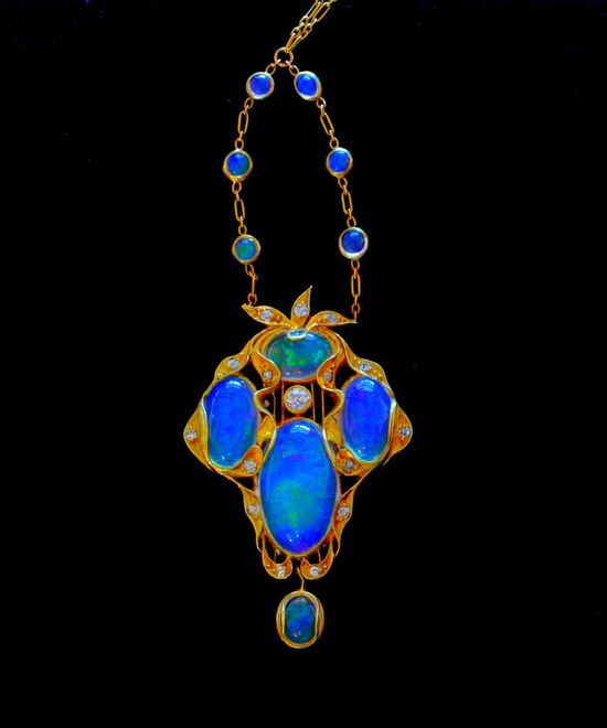 Art Nouveau Pendant - Opals and Diamonds set in Gold