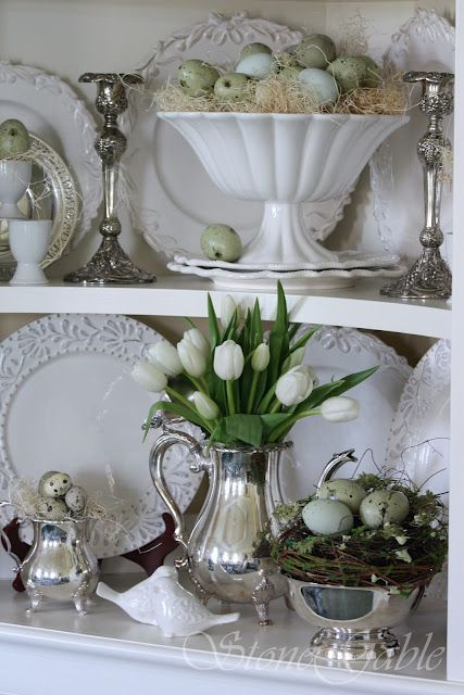 Classic white & sterling with spring greens, speckled eggs and textural nests.