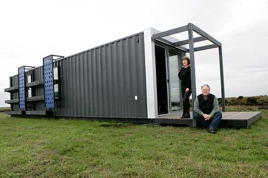 Fabricated from disused shipping container. Brainchild of Geoff Fulton and Carla Salomon of Fulton and Salomon Architects. Portarlington Rd. Leopold. Photo: Gary Medlicott.