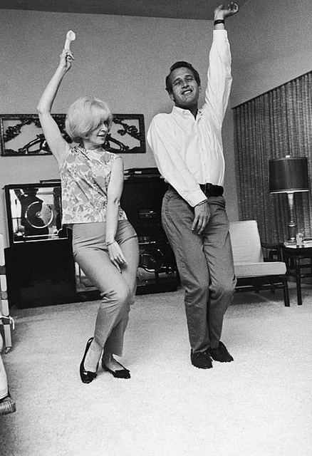 Paul Newman and Joanne Woodward dance party.  Why go out for burger when you have steak at home.