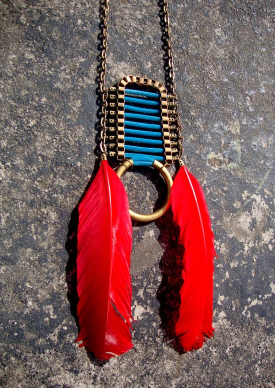 Tribal native americans red feathers