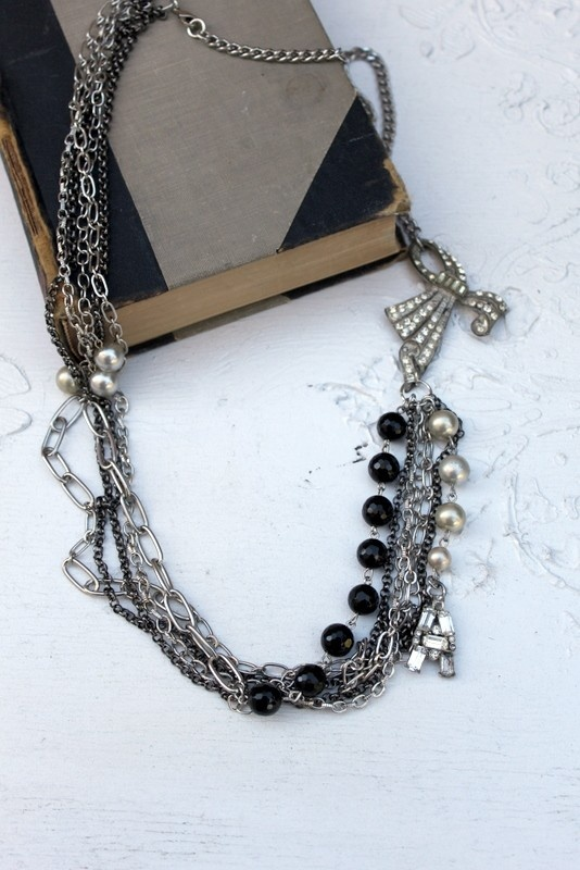 Vintage Rhinestone Pearl and Onyx Necklace~