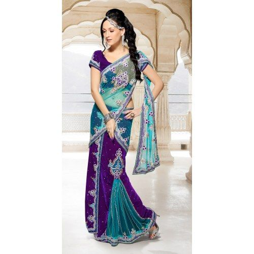 Buy Online Shop Indian purple heavy hand work designer lehnga saree- Designer Lehenga Sarees by Surat Sarees