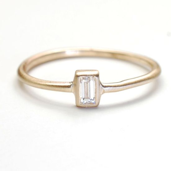 Diamond Ring Engagement Ring Baguette Diamond Ring by NIXIN, $450.00