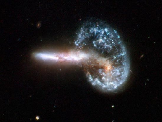 When Galaxies Collide  Credit: NASA, ESA, the Hubble Heritage (STScI/AURA)-ESA/Hubble Collaboration, and A. Evans (University of Virginia, Charlottesville/NRAO/Stony Brook University)