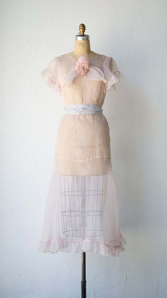 vintage 1930s sheer pink dress with sash and ruffles