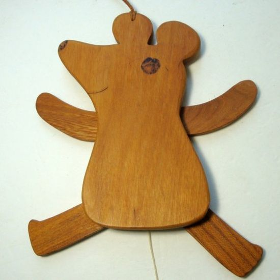 Vintage Mouse TOY, Wood Puppet.1960s Hanging Articulated Critter Pull Toy, Moving parts. Hand Made Wood Craft $14.99