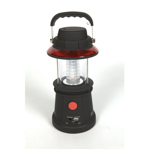 No power? This handy lantern gives light & charges your USB devices with a hand crank. Need this!