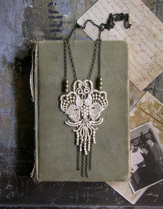 lotus lace necklace #fashion #lace #accessory #jewelry #necklace #fringe #handmade