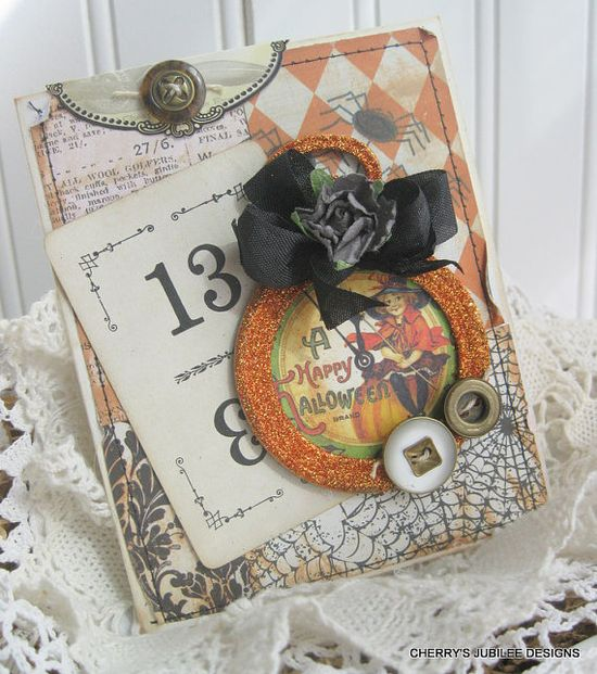 vintage style little witch clock pocket watch unlucky number 13 stitched handmade halloween card
