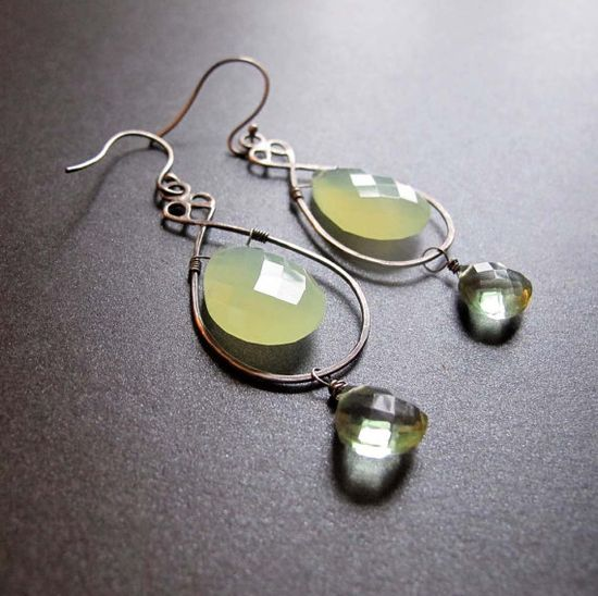 Green Chalcedony and Quartz Drop Earrings Oxidized by OverTheTop on Etsy, $102.00  www.etsy.com/...