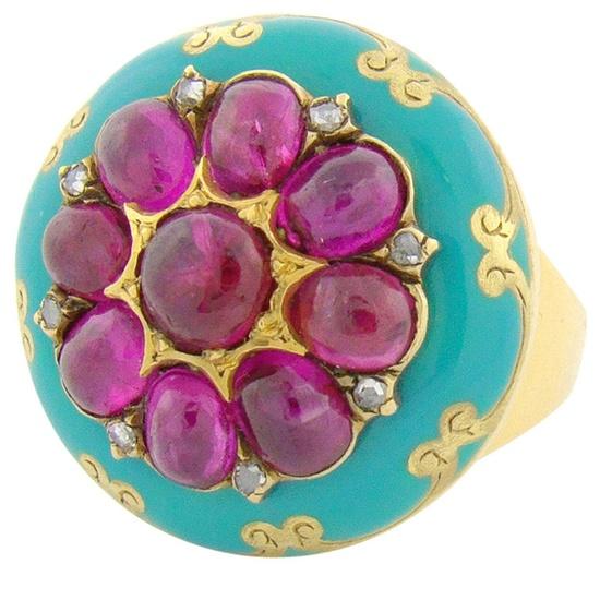 Victorian Ruby, Diamond & Enamel 18K Yellow Gold Ring