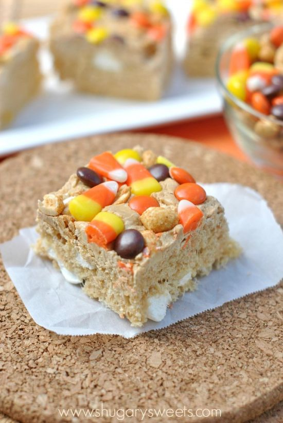 Peanut Butter Krispie Treats with Candy corn and Reeses Pieces