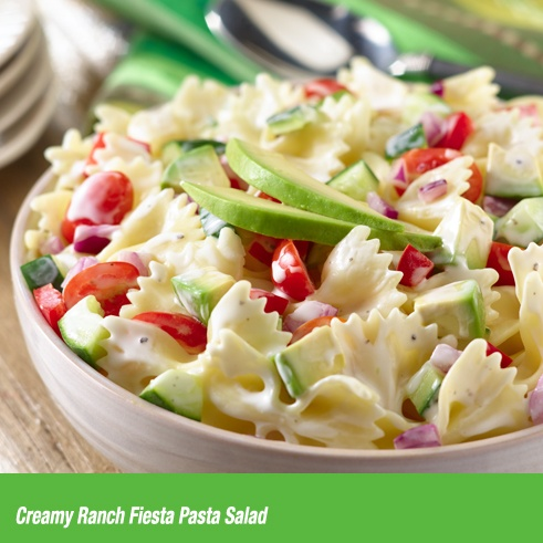"""Last-minute picnic? Toss together this Creamy Ranch Fiesta Pasta Salad as fast as you can say """"delicious."""""""