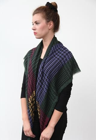 Vintage style Multi colour Dogtooth shawl Scarf