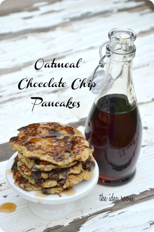 Oatmeal Banana Chocolate Chip Pancake Recipe via Amy Huntley (The Idea Room)