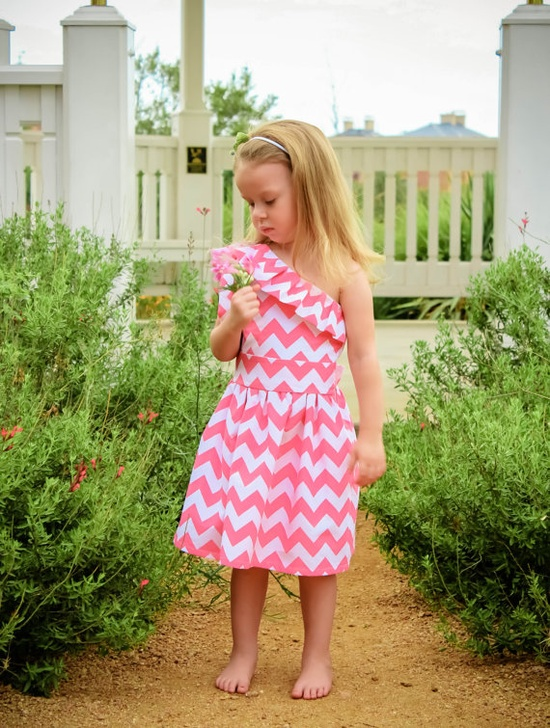 One Shoulder Pink Chevron Ruffled Dress for Girls..